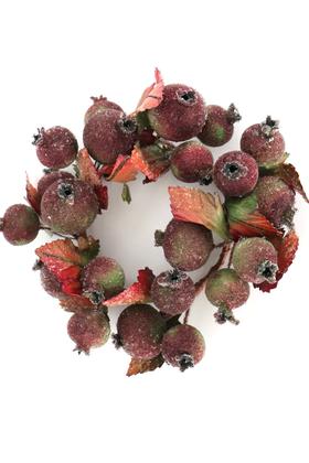 Yapay Çiçek Deposu - Dekoratif Meyveli Duvar Süsü - Mum Altlığı Çap 16cm Bordo