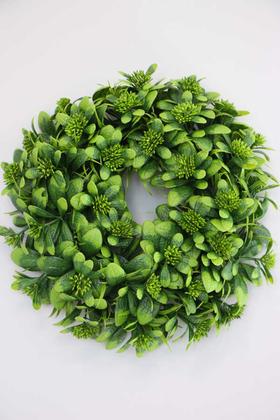 Yapay Çiçek Deposu - Yapay Bitki Çelengi 30 cm Yeşil