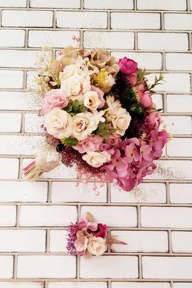 Yapay Çiçek Deposu - Karina Kuru Çiçek Gelin Buketi 2li Set