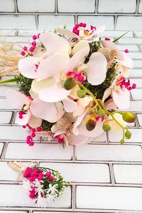 Yapay Çiçek Deposu - Katerina Orkide Gelin Çiçeği Pudra Pembe 2li set