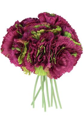 Yapay Çiçek Deposu - Yapay Çiçek 8li Karanfil Demeti Mürdüm-Yeşil
