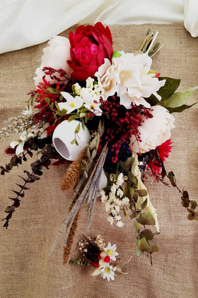 Yapay Çiçek Deposu - Kırmızı Beyaz Güller Şöleni 2li Set