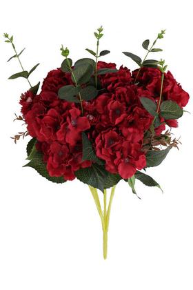 Yapay Çiçek Deposu - Yapay Çiçek 15 Dal Ortanca Gerbera Okaliptus Çiçekli Nirvana Demet Kırmızı