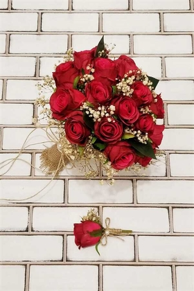 Yapay Çiçek Deposu - Kırmızı Güller Cipso Şöleni Gelin Çiçeği 2li Set