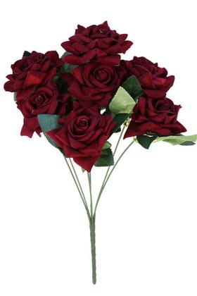 Yapay Çiçek Deposu - Yapay Çiçek 7li Lüx Kadife Gül Demeti Bordo