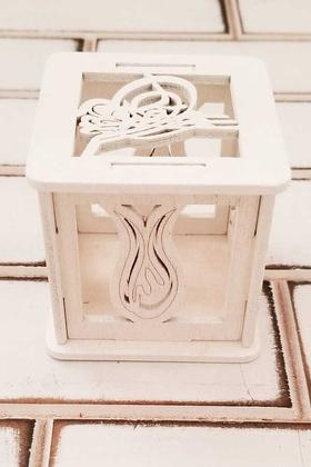 Yapay Çiçek Deposu - Lale Figürlü Ahşap Kutu Beyaz Nikah ve Kız Erkek Bebek Şekeri Kutusu