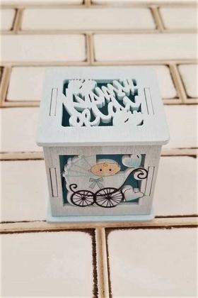 Yapay Çiçek Deposu - Kızımız Geldi Yazılı Ahşap Kutu Mavi Kız Bebek Mevlit Şekeri