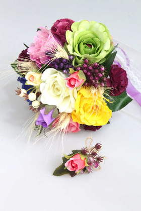Yapay Çiçek Deposu - Kleopatra Gelin Buketi 2li Set