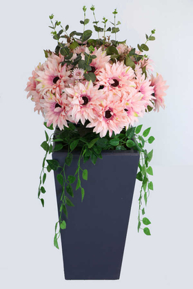 Yapay Çiçek Deposu - Yapay Ahşap Saksıda Lüx Gerbera Tanzimi 100 cm Somon