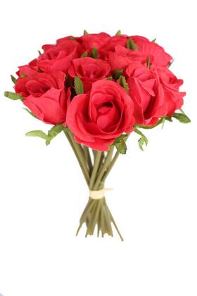 Yapay Çiçek Deposu - Yapay Çiçek 15li Lux Tomur Gül Buketi Kırmızı