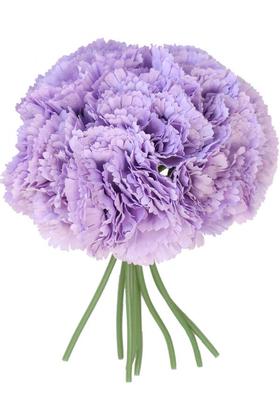 Yapay Çiçek Deposu - Yapay Çiçek 8li Karanfil Demeti Leylak