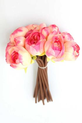 Yapay Çiçek Deposu - Yapay Çiçek İnce İpek 16lı Gül Demeti Fuşya-Krem