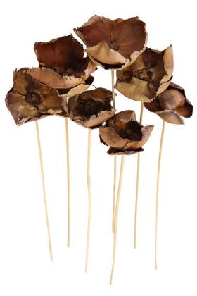 Yapay Çiçek Deposu - Kuru Çiçek 7li Palm Cup Demeti 45 cm Naturel