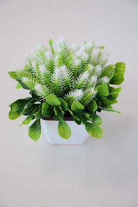 Yapay Çiçek Deposu - Plastik Saksıda Dekoratif Bonus Çam Beyaz