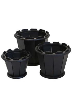 Yapay Çiçek Deposu - Ahşap Saksı 3lü Set Sepet Model Siyah