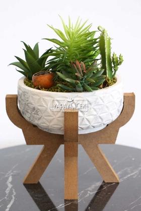 Yapay Çiçek Deposu - Ahşap Ayaklı Beton Saksida Yapay Succulent Bahçesi