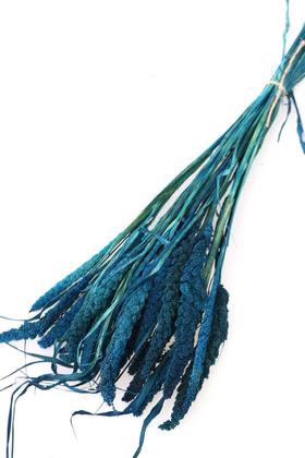 Yapay Çiçek Deposu - Şoklanmış Setteria Demeti 100gr Mavi