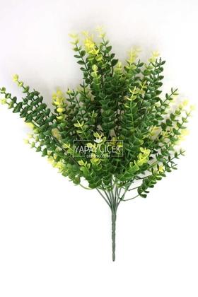 7 Dal Plastik Okaliptus Demeti 35 cm Yeşil-Sarı - Thumbnail