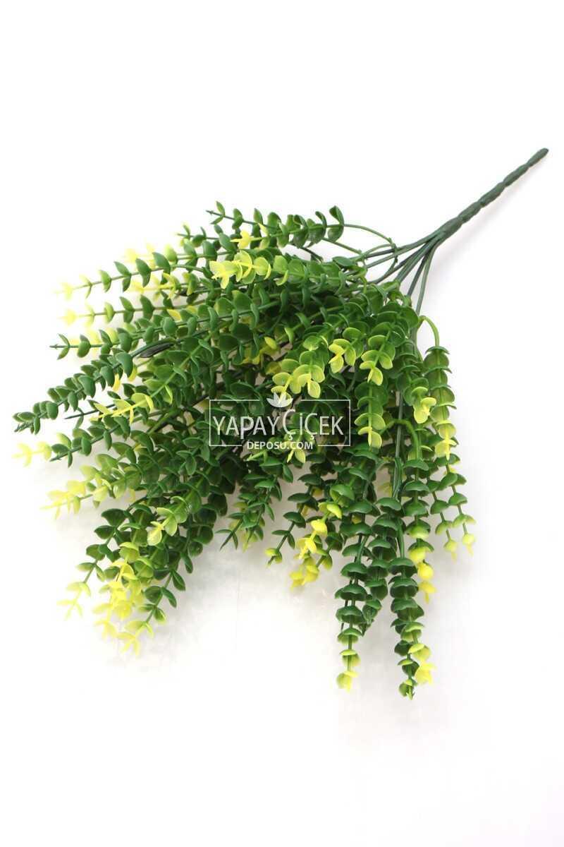 7 Dal Plastik Okaliptus Demeti 35 cm Yeşil-Sarı