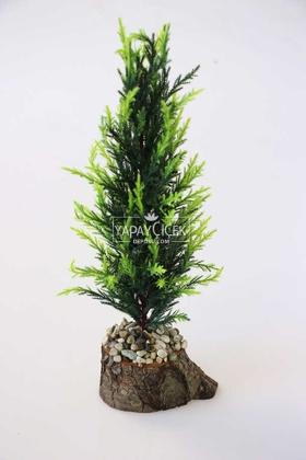 Yapay Çiçek Deposu - Küçük Yapay Kütük Çam 30 cm Yeşil