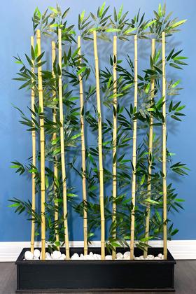 Yapay Çiçek Deposu - Kumaş Yapraklı Ahşap Saksıda Bambu Seperatör (20x100x180cm)