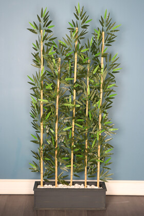 Yapay Çiçek Deposu - Kumaş Yapraklı 5 Çubuklu Ahşap Saksıda Bambu Seperatör (20x70x180cm)