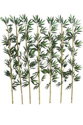 Yapay Çiçek Deposu - Kumaş Yapraklı Doğal Bambu 135-150 cm (7 Adet)