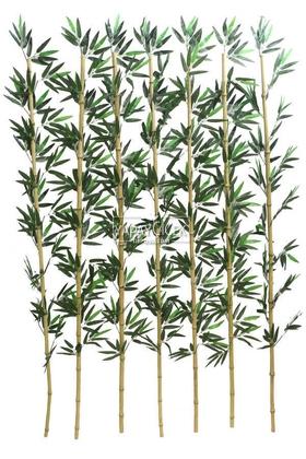 Yapay Çiçek Deposu - Kumaş Yapraklı Doğal Bambu 180-195 cm (7 Adet)