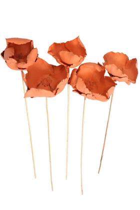Yapay Çiçek Deposu - Kuru Çiçek 5li Palm Cap Demeti 45 cm Palm Cup Çiçeği Somon