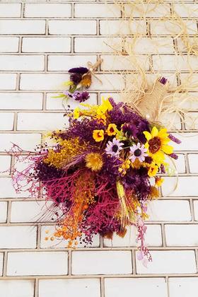 Yapay Çiçek Deposu - Kuru Çiçek Gelin Buketi Adlestor 2li Set