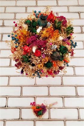 Kuru Çiçek Gelin Buketi Aleza 2li Set - Thumbnail