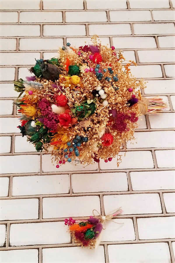 Kuru Çiçek Gelin Buketi Aleza 2li Set