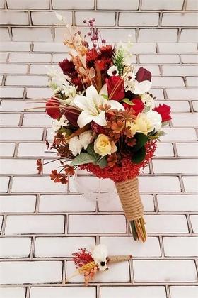 Yapay Çiçek Deposu - Armina Büyük Kuru Çiçek Gelin Buketi 2li Set