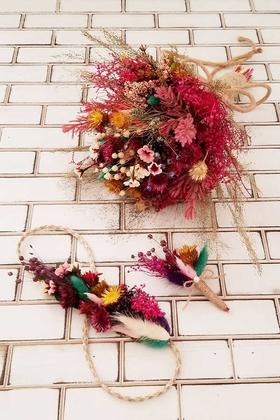 Yapay Çiçek Deposu - Artes Büyük Kuru Çiçek Gelin Buketi 3lü Set