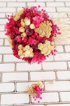 Kuru Çiçek Gelin Çiçeği Curcuna Fuşya-Bej Şöleni 2li Set - Thumbnail