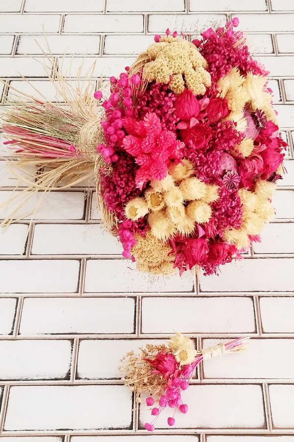 Kuru Çiçek Gelin Çiçeği Curcuna Fuşya-Bej Şöleni 2li Set