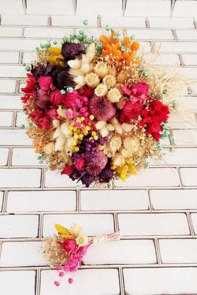 Yapay Çiçek Deposu - Kuru Çiçek Gelin Çiçeği Curcuna Renk Şöleni 2li Set