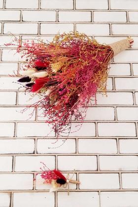 Yapay Çiçek Deposu - Nevada Kuru Çiçek Gelin Buketi 2li Set