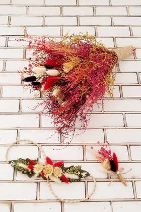 Yapay Çiçek Deposu - Nevada Kuru Çiçek Gelin Buketi 3lü Set