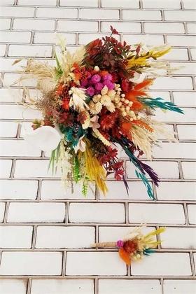 Yapay Çiçek Deposu - Kuru Çiçek Gelin Buketi Pales Turunculu 2li Set