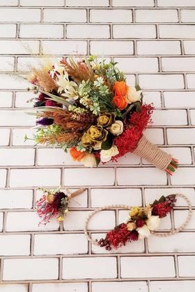 Yapay Çiçek Deposu - Pekin Büyük Kuru Çiçek Gelin Buketi 3lü Set