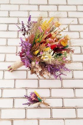 Yapay Çiçek Deposu - Sefila Büyük Kuru Çiçek Gelin Buketi 2li Set