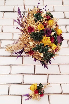 Kuru Çiçek Gelin Buketi Valensiya Yeşil- Bej- Sarı 2li Set - Thumbnail