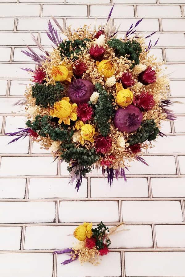 Kuru Çiçek Gelin Buketi Valensiya Yeşil- Bej- Sarı 2li Set