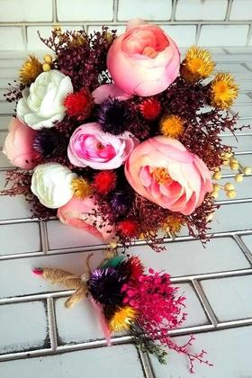 Yapay Çiçek Deposu - Zoyami Kuru Çiçek Gelin Buketi 2li Set