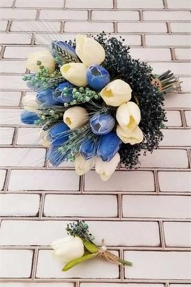 Yapay Çiçek Deposu - Islak Lale Gelin Çiçeği 2li Set Beyaz Mavi