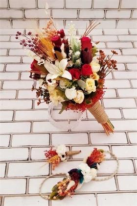 Yapay Çiçek Deposu - Armina Büyük Kuru Çiçek Gelin Buketi 3lü Set