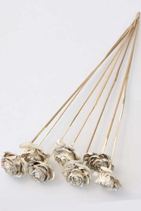 Yapay Çiçek Deposu - Cedar Rose 7Li Demet 45 cm Retro Ekru
