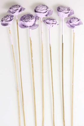 Yapay Çiçek Deposu - Cedar Rose 7Li Demet 45 cm Açık Leylak