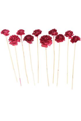 Yapay Çiçek Deposu - Cedar Rose 10lu Demet 45 cm Vişne Çürüğü